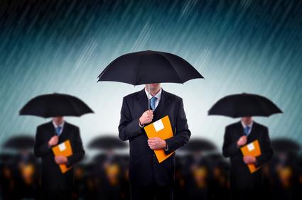 Businessmen in rain