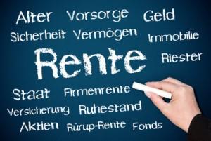 Rente - Konzept Tafel blau