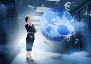 Businesswoman standing and thinking in data center with earth and currency graphics