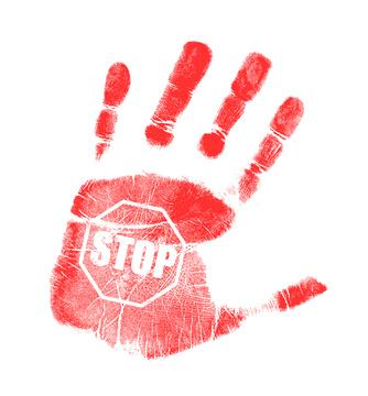 handprint stop sign illustration design