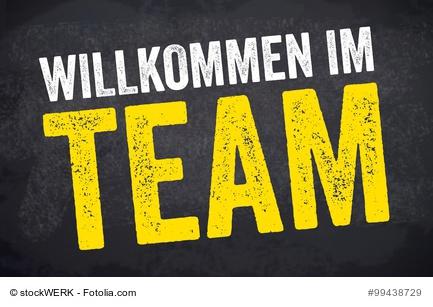 Kreidetafel mit Willkommen im Team, Teamwork