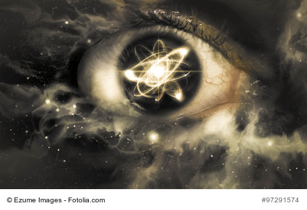 Atomic particle reflection in the pupil of an eye for physics background