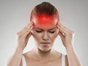 Woman having headache or dizziness problem. Healthcare concept